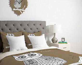Big Brown Owl Duvet Cover - Brown Duvet - Owl Duvet - Owl Blanket - Owl Bedding - Kid's Owl Blanket Twin, King Queen Size Duvet