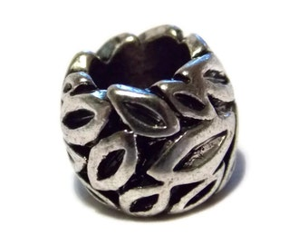 Metal Leaf Bead with big hole for use with 550 Paracord or European Charm Bracelets