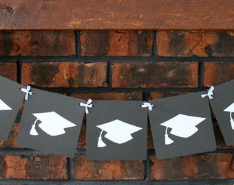 Graduation Banner (Black with white caps), Graduation Party Decor, Garland, Graduation Decoration, Party Decor, Graduation 2018