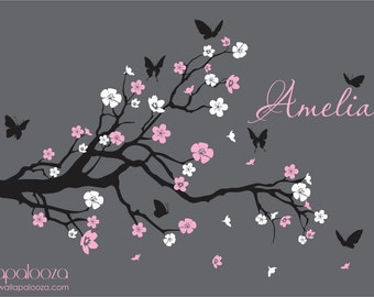 Nursery Branch wall decal - Branch with flowers wall decal - branch decal - girls nursery decal - girls name decal - Wall decal - Wall decor