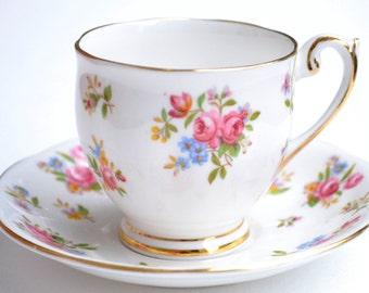 Vintage Princess Anne Demitasse Cup Saucer, Pink Floral Teacup Rose Fine Bone China Tea Party Decor