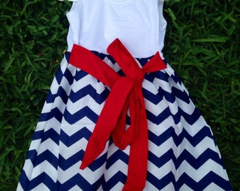Blue Chevron Dress
