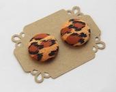 Button Earrings Stud Earrings - Cheetah Print Earrings -  Hypoallergenic Earrings - Fabric Covered Button Earrings