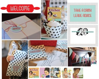 1950's Housewife Bridal Shower Printables: Instant Download