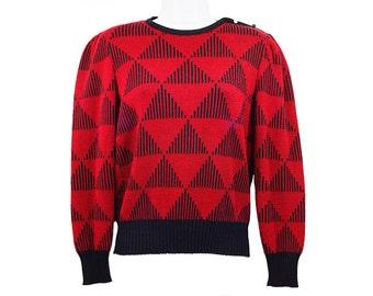 10 Dollar SALE-----Vintage VIVANTI Red & Black Geometric Triangle Pattern Sweater Size 8