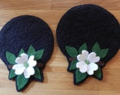 Dogwood Round Coasters and Decoration Mats - Woolfelt Penny Rug - Candle Mat ~ E-Pattern