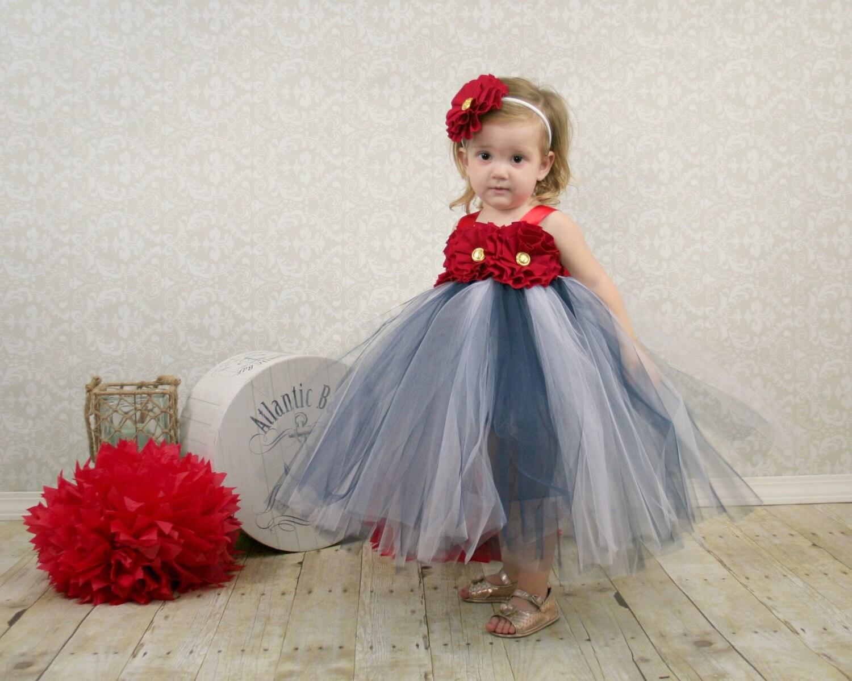 Nautical Dress Nautical Wedding Flower Girl Dress Nautical