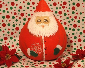 Santa Gourd, Red with Silver Bush, Small, Handpainted (S1134)