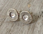 Winchester 9 mm Luger Silver Bullet Head with Swarovski Crystal Centers Stud Earrings