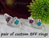 Unique Gifts for Women Sisters Best Friends Her Personalized Jewelry Gifts Wire Wrap Ring Birthstone Custom Choose Your Color BFF ITEM0300