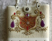 1960s Enid Collins style purse / Cream Fabric purse with gems and pearls / Embellished Red Purple Amber Crest / Wood bottom, Handled Handbag