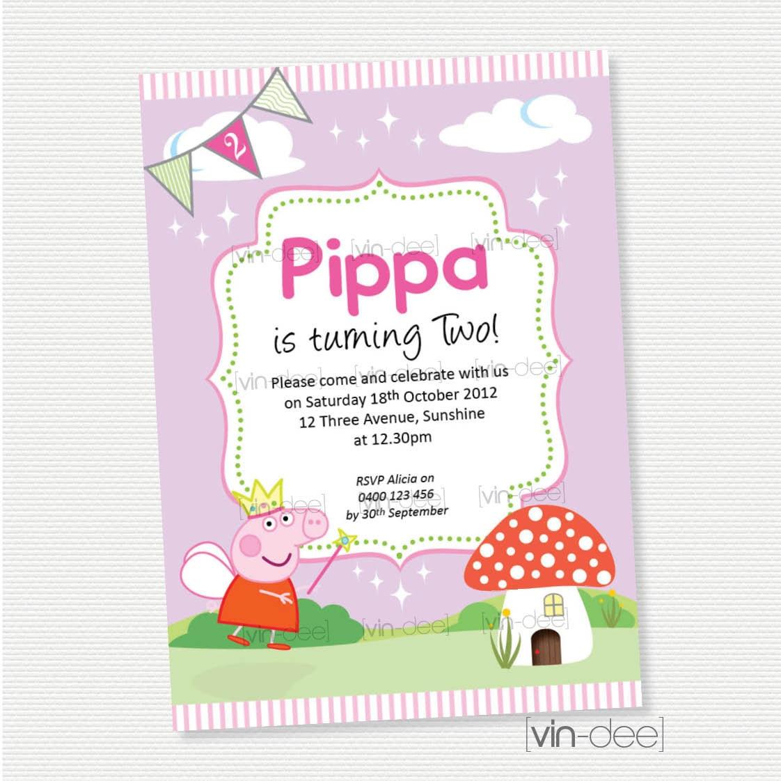 Peppa pig fairy birthday invitation diy printable for Diy birthday invitations free