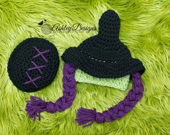 Crochet Pattern Cutest Witch Baby Tushy Cover Set (Newborn - 3 Months) - PDF - Instant Digital Download