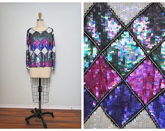 VTG Harelequin Sequined Top // Checkered Sequin Embellished Blouse // Pink Purple Green Color Block Top