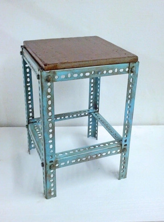 steampunk end table metal table blue paint steel table plant stand pedestal 694