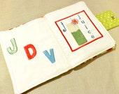 childrens Fabric book, soft fabric book custom 6.5 x 10.5 inches