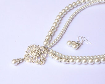 Bridal Set, Bridesmaids gift - Pearl Jewelry sets with Bracelet and Earrings