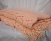 RESERVED -Peach Crochetted Blanket// Peach Throw Blanket