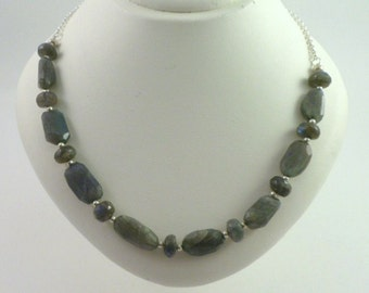 Silver and Labrodite Nugget Necklace - Hill Tribe Silver and Labrodite Nugget Necklace - Labrodite Nugget Statement Necklace