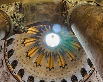 Israel Photography, Church of the Holy Sepulchre, Jerusalem. Old City, Sacred Site, Church Dome and Pillars