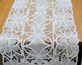 White Organza Battenburg Lace Runner  (2 size Avaliable)