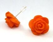 Orange Stud Earrings, Orange Polymer Clay Rose Post Earrings