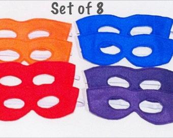 Teenage Mutant Ninja Turtle Colors Felt Mask Super Hero Dress Up Set of 8