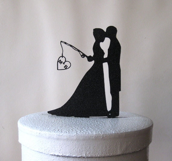 Custom wedding cake topper hooked on love change to long for Fishing cake topper