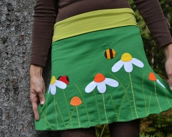 Nature clothing, nature clothes, cute clothes for woman, green woman skirt, daisy skirt, S, M, L, Xl, XXL or custom skirt, comfort clothing