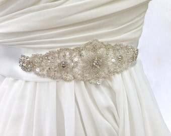 Beaded Bridal Sash-Wedding Sash In Soft White And Platinum, Beaded Sash, Wedding Dress Sash, Bridal Belt, Color Choices