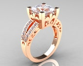 French Vintage 14K Rose Gold Princess White Sapphire Diamond Solitaire Ring R222-RGDWS