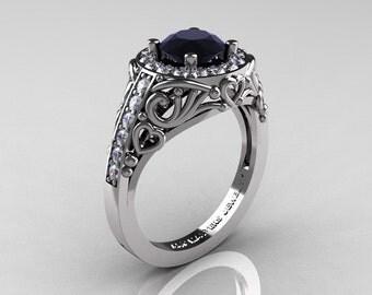 Italian 14K White Gold 1.0 Ct Black and White Diamond Engagement Ring Wedding Ring R280-14KWGDBD