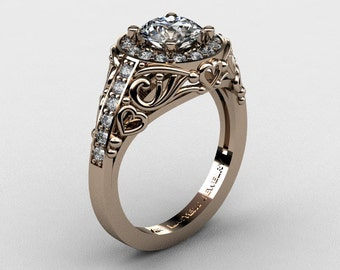 Italian 14K Rose Gold 1.0 Ct Cubic Zirconia Diamond Engagement Ring Wedding Ring R280-14KRGDCZ