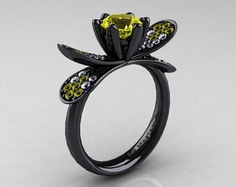 14K Black Gold 1.0 Ct Yellow Sapphire Diamond Nature Inspired Engagement Ring Wedding Ring R671-14KBGDYS