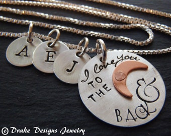 Sterling silver mothers necklace personalized with kids initials - I love you to the moon and back