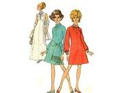 1960s Evening Dress Pattern Simplicity 8540 Bust 32.5 High Round Neckline Stand Up Collar Front Slit Braided Trim Vintage Sewing Pattern