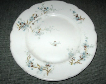 "ca. 1903 Theodore Haviland Limoges 8"" Plate, Blue Flowers, Burley & Co. Chicago"