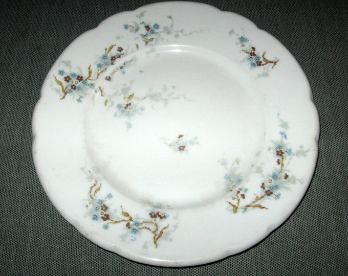"""ca. 1903 Theodore Haviland Limoges 8"""" Plate, Blue Flowers, Burley & Co. Chicago"""