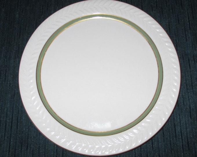 10.5 inch Shenango China CARLTON Dinner Plate, Green Band, Gold Trim, Restaurantware ca.1980s