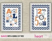 alphabet and number chevron nursery wall art bundle - (navy blue, orange, gray) digital file