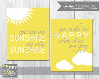 INSTANT DOWNLOAD - You Are My Sunshine Nursery Art Set