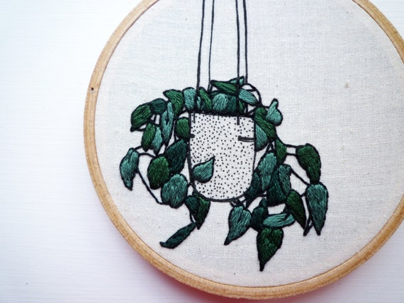 Plant embroidery ivy planter inch hoop art