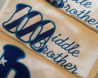 Big Brother, Middle Brother & Little Brother Sibling T-shirt