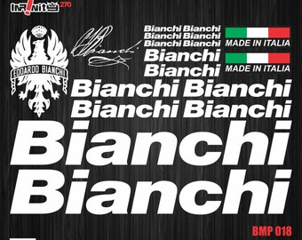 wBMP018 Bianchi Bike Frame Sticker Tube Decal Set Italy Crank Spoke Clincher Cycle Cycling Aufkleber Autocollant Bicycle MTB BMX Restoration