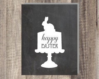 8x10 or 5x7 Instant Download- Happy Easter - Easter Bunny Cake Print Easter digital print Printable Easter chalkboard print - Chalkboard Art