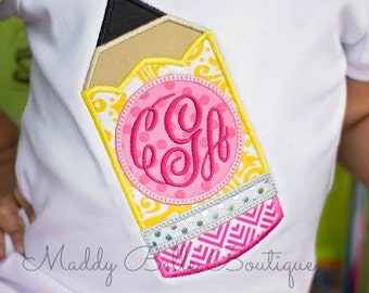 Fun Monogrammed Pencil Appliqued Shirt - Embroidered, Personalized, Monogram, Back to School, Girls Pencil Shirt, Monogram Pencil Shirt