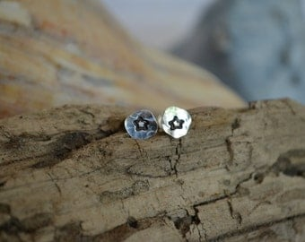 Sterling Silver Star Stud Earrings Recycled Sterling Hand Stamped on Sterling Silver Posts Hand Hammered