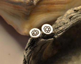 Sterling Silver Recycle Symbol Earrings Recycled Sterling Silver Face Sterling Silver Posts Eco Friendly Responsibly Made
