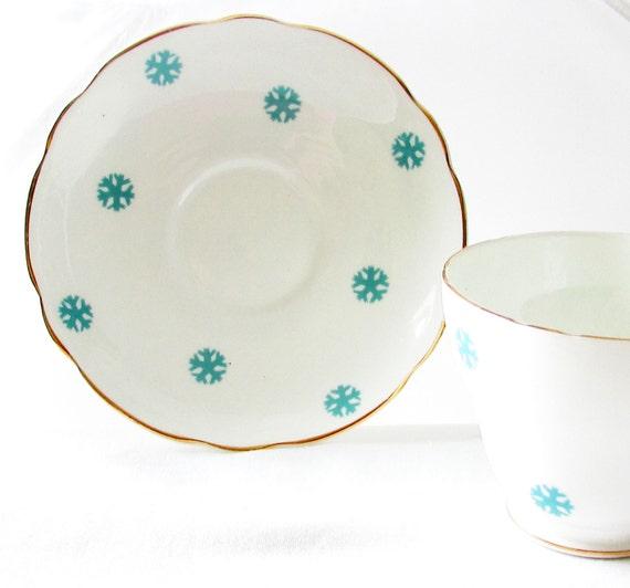 Vintage Snowflake Teacup, Royal Ascot Snowflake Teacup, Blue Snowflake Vintage Teacup, Vintage Royal Ascot Teacup