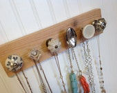 Jewelry Organizer / Wall Hooks in Silver, Cream, and Glass / Hanging Jewelry Rack #63